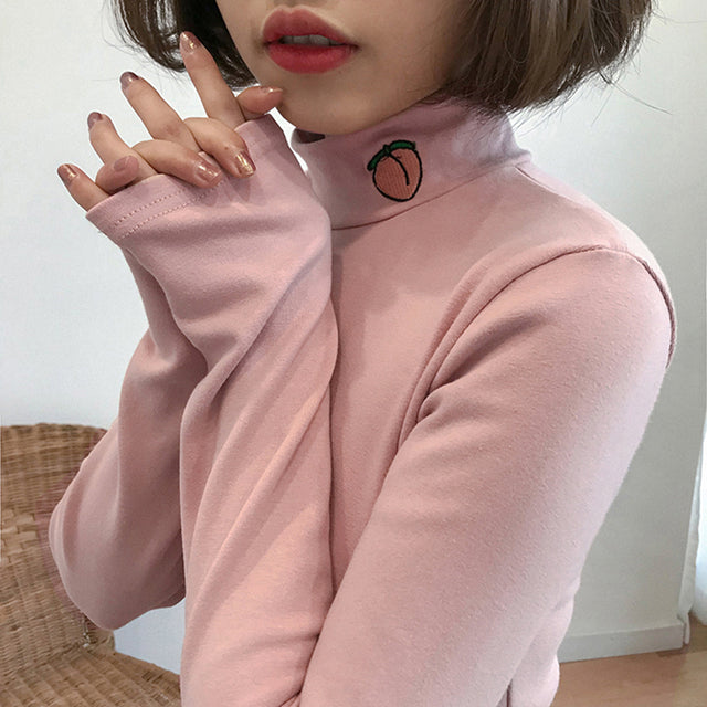Peachy Turtleneck - Shop Minu (sweater) Korean Aesthetic Asian Women's Fashion