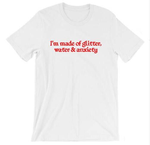 Glitter Water and Anxiety T-Shirt - Shop Minu (shirt) Korean Aesthetic Apparel & Accessories