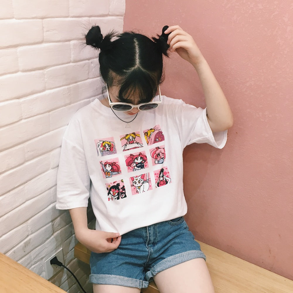 Sailor Moon Graphic Print T-Shirt - Shop Minu (shirt) Korean Aesthetic Apparel & Accessories