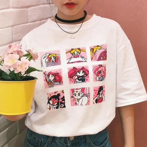 Sailor Moon Graphic Print Tee - Shop Minu (shirt) Korean Aesthetic Asian Women's Fashion