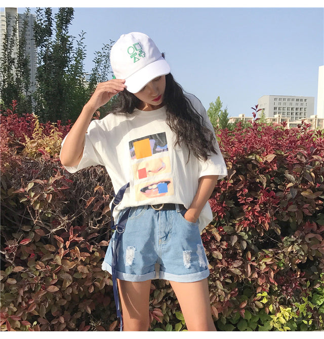 Graphic Print Harajuku Long Tee - Shop Minu (shirt) Korean Aesthetic Asian Women's Fashion