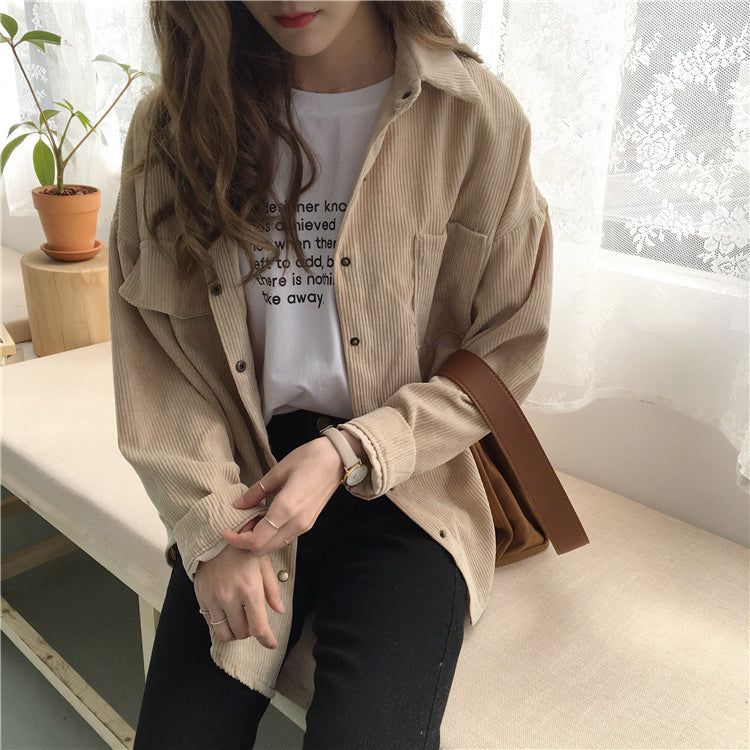 Corduroy Shirt - Shop Minu (shirt) Korean Aesthetic Asian Women's Fashion