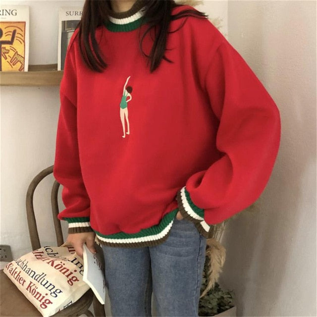 Embroidered Swimmer Sweater - Shop Minu (sweater) Korean Aesthetic Asian Women's Fashion