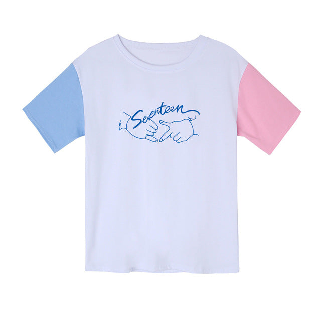 Seventeen Kpop Colorblock Pastel T-Shirt - Shop Minu (shirt) Korean Aesthetic Apparel & Accessories