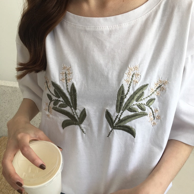 White Flower Embroidered Tee - Shop Minu (shirt) Korean Aesthetic Asian Women's Fashion