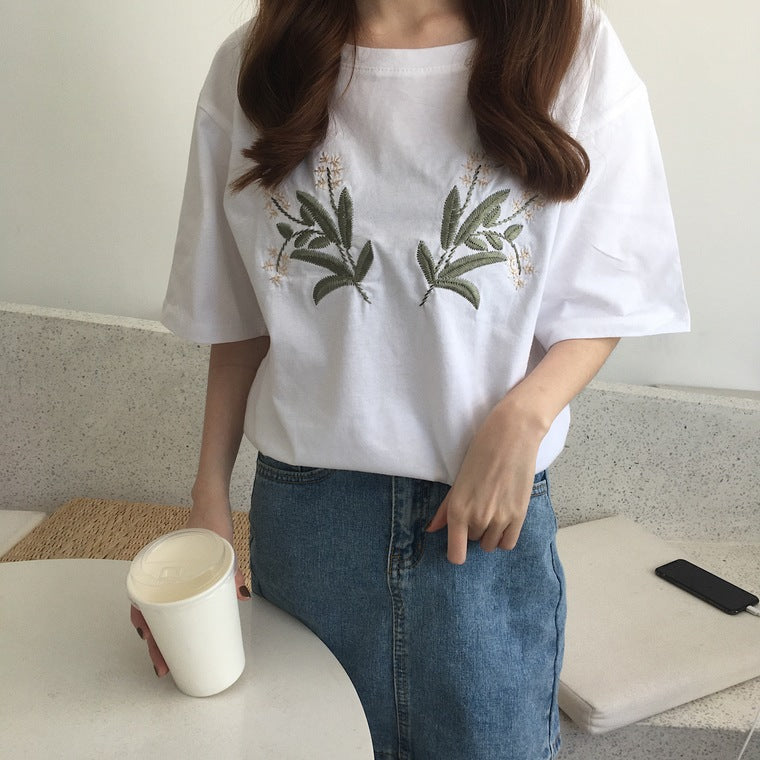 White Flower Embroidered T-Shirt - Shop Minu (shirt) Korean Aesthetic Apparel & Accessories