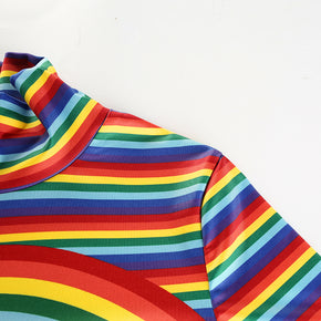 Rainbow Striped Cropped Turtleneck T-Shirt - Shop Minu (shirt) Korean Aesthetic Apparel & Accessories