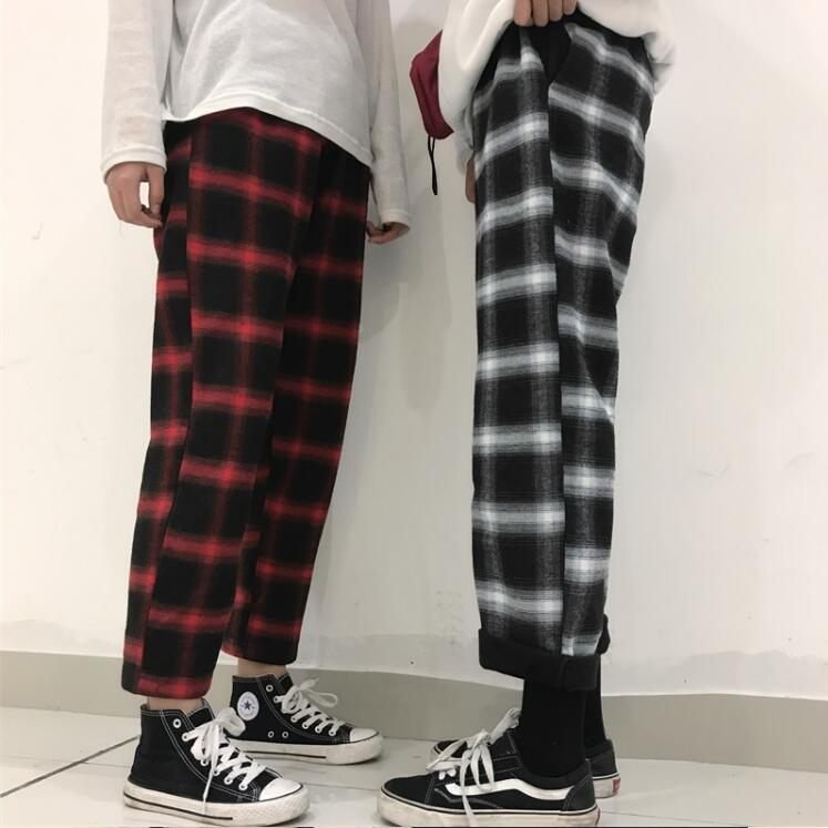 Retro Loose Plaid Pants - Shop Minu (pants) Korean Aesthetic Apparel & Accessories