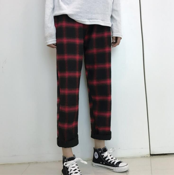 Retro Loose Plaid Pants - Shop Minu (pants) Korean Aesthetic Asian Women's Fashion