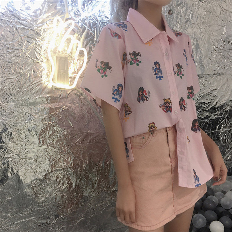 Sailor Moon Pink Blouse - Shop Minu (shirt) Korean Aesthetic Apparel & Accessories