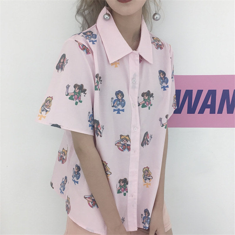 Sailor Moon Pink Blouse - Shop Minu (shirt) Korean Aesthetic Asian Women's Fashion