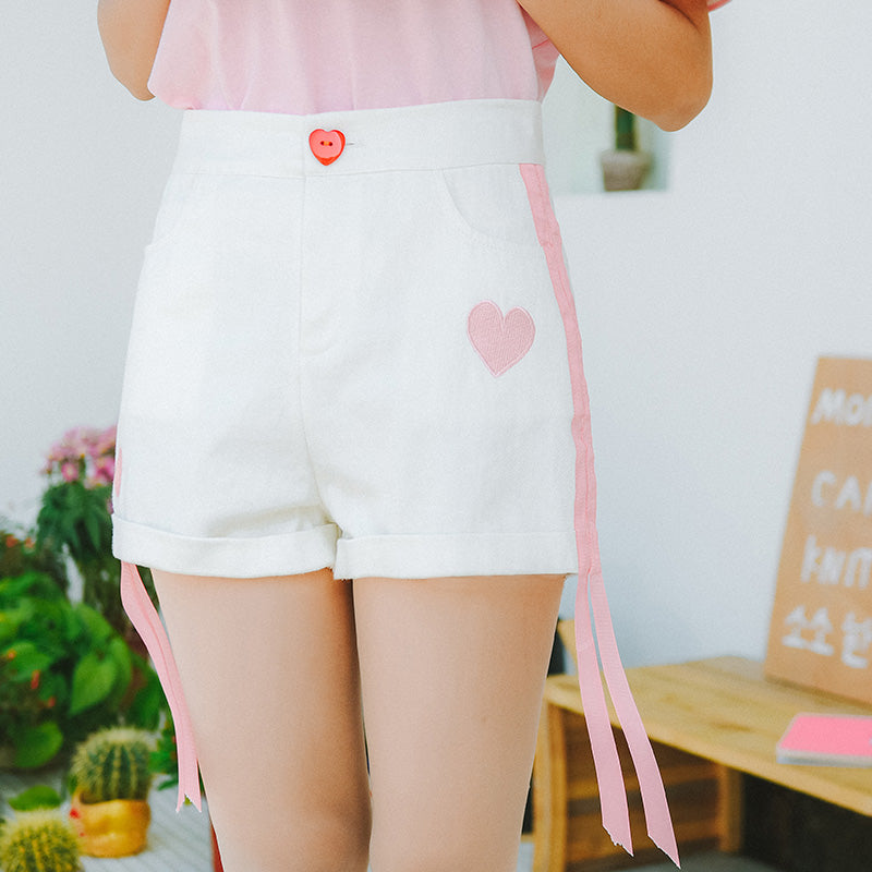 Heart and Ribbon Embroidery Shorts - Shop Minu (shorts) Korean Aesthetic Asian Women's Fashion