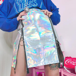 Holographic High Waist A-Line Skirt - Shop Minu (skirt) Korean Aesthetic Asian Women's Fashion