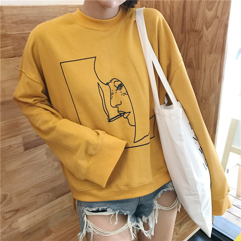 Smoking Girl Line Art Sweatshirt - Shop Minu (sweatshirt) Korean Aesthetic Asian Women's Fashion