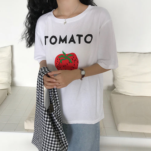Tomato Graphic Tee - Shop Minu (shirt) Korean Aesthetic Asian Women's Fashion