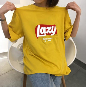 Lazy Chips T-Shirt - Shop Minu (shirt) Korean Aesthetic Apparel & Accessories
