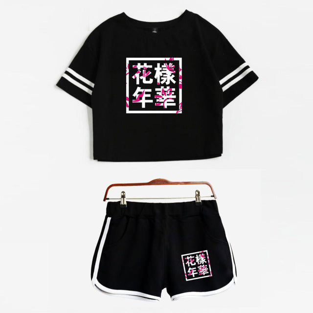 BTS Tee and Shorts Set - Shop Minu (set) Korean Aesthetic Asian Women's Fashion