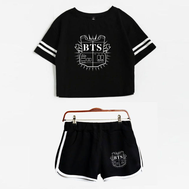 BTS T-Shirt and Shorts Set - Shop Minu (set) Korean Aesthetic Apparel & Accessories