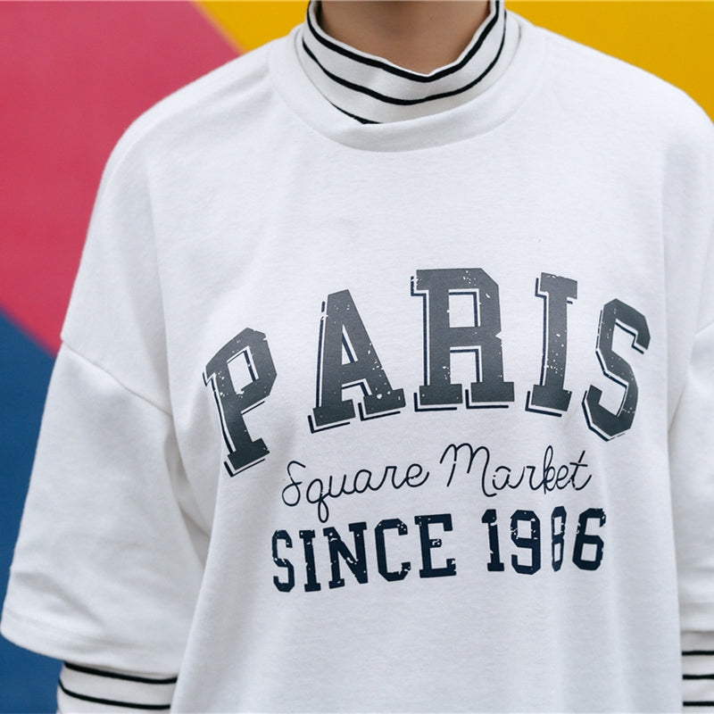 Paris Faux Two Piece T-Shirt - Shop Minu (shirt) Korean Aesthetic Apparel & Accessories