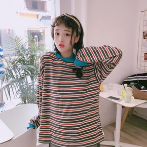 Striped Long Sleeved Tee - Shop Minu (shirt) Korean Aesthetic Asian Women's Fashion