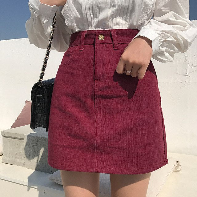 Solid Color A-Line Skirt - Shop Minu (skirt) Korean Aesthetic Apparel & Accessories