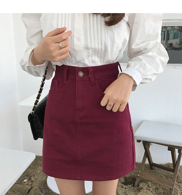 Solid Color A-Line Skirt - Shop Minu (skirt) Korean Aesthetic Asian Women's Fashion