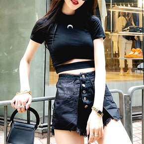 Moon Cut Out Crop Top T-Shirt - Shop Minu (shirt) Korean Aesthetic Apparel & Accessories