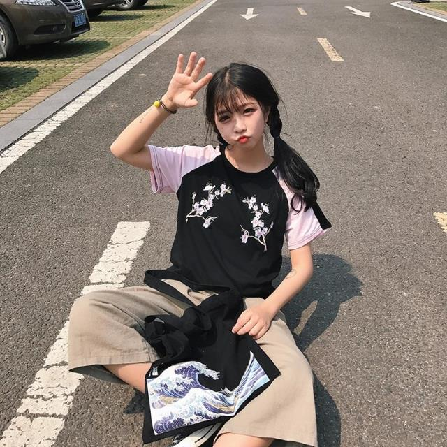 Black and Pink Sakura Embroidered T-Shirt - Shop Minu (shirt) Korean Aesthetic Apparel & Accessories