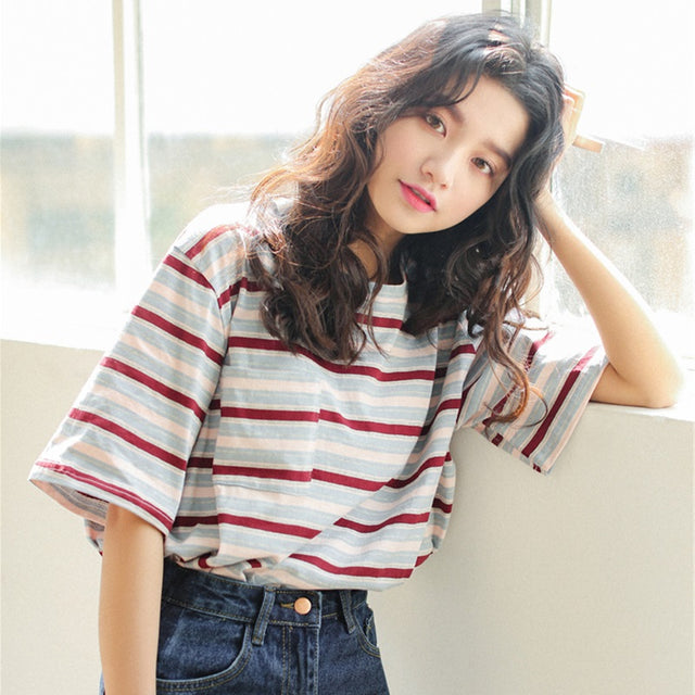 Multicolor Striped Tee - Shop Minu (shirt) Korean Aesthetic Asian Women's Fashion