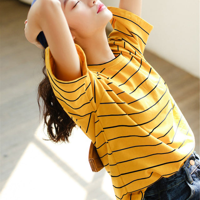 Multicolor Striped T-Shirt - Shop Minu (shirt) Korean Aesthetic Apparel & Accessories