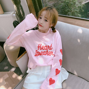 Heart Breaker Long Sleeve Tee - Shop Minu (shirt) Korean Aesthetic Asian Women's Fashion