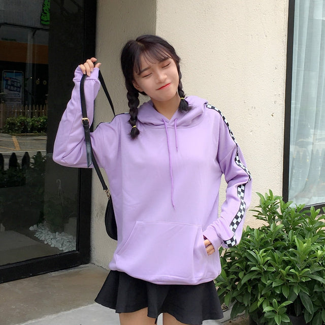 Purple Checkered Stripe Hoodie - Shop Minu (hoodie) Korean Aesthetic Asian Women's Fashion