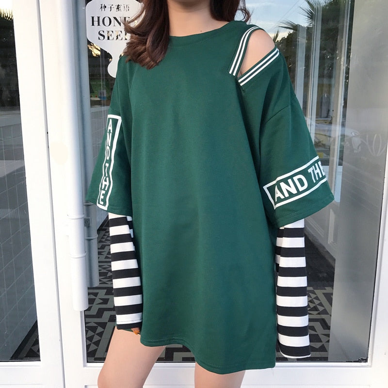 Faux 2 Piece Long Sleeved T-Shirt - Shop Minu (shirt) Korean Aesthetic Apparel & Accessories