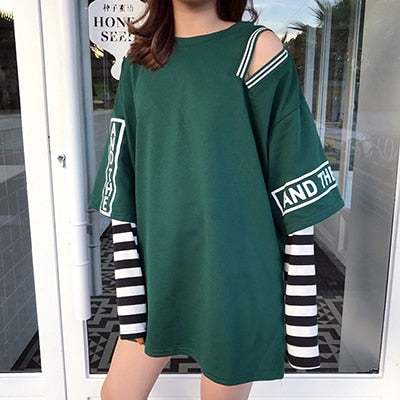 Faux 2 Piece Long Sleeved Tee - Shop Minu (shirt) Korean Aesthetic Asian Women's Fashion
