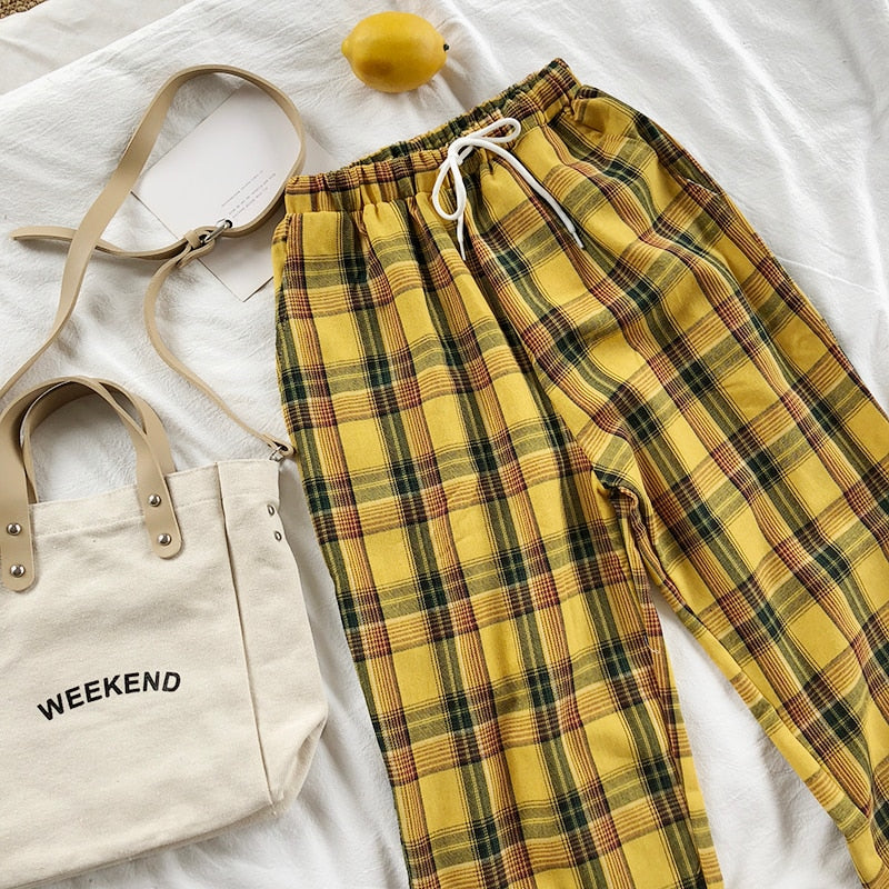 Yellow Plaid Pants - Shop Minu (pants) Korean Aesthetic Apparel & Accessories
