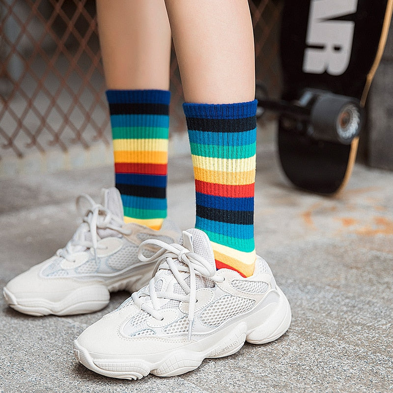 Rainbow Stripe Socks - Shop Minu (socks) Korean Aesthetic Apparel & Accessories
