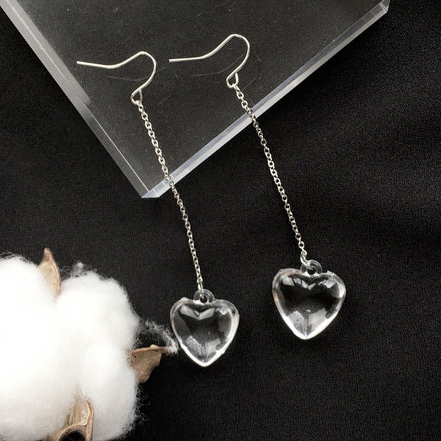 Transparent Heart Earrings - Shop Minu (earrings) Korean Aesthetic Asian Women's Fashion