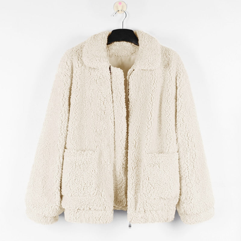 Faux Fur Soft Teddy Jacket - Shop Minu (jacket) Korean Aesthetic Apparel & Accessories
