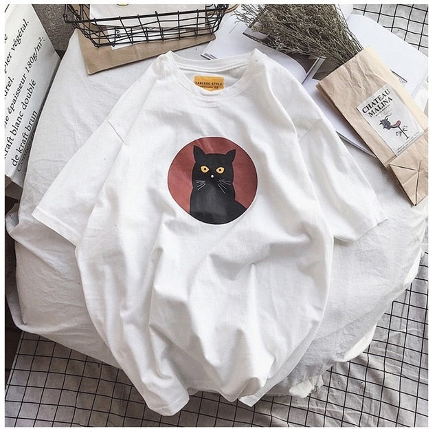 Black Cat T-Shirt - Shop Minu (shirt) Korean Aesthetic Apparel & Accessories