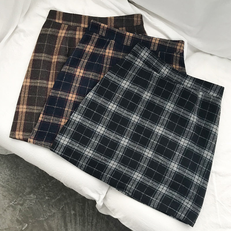 Retro Style Plaid Mini Skirt - Shop Minu (skirt) Korean Aesthetic Apparel & Accessories