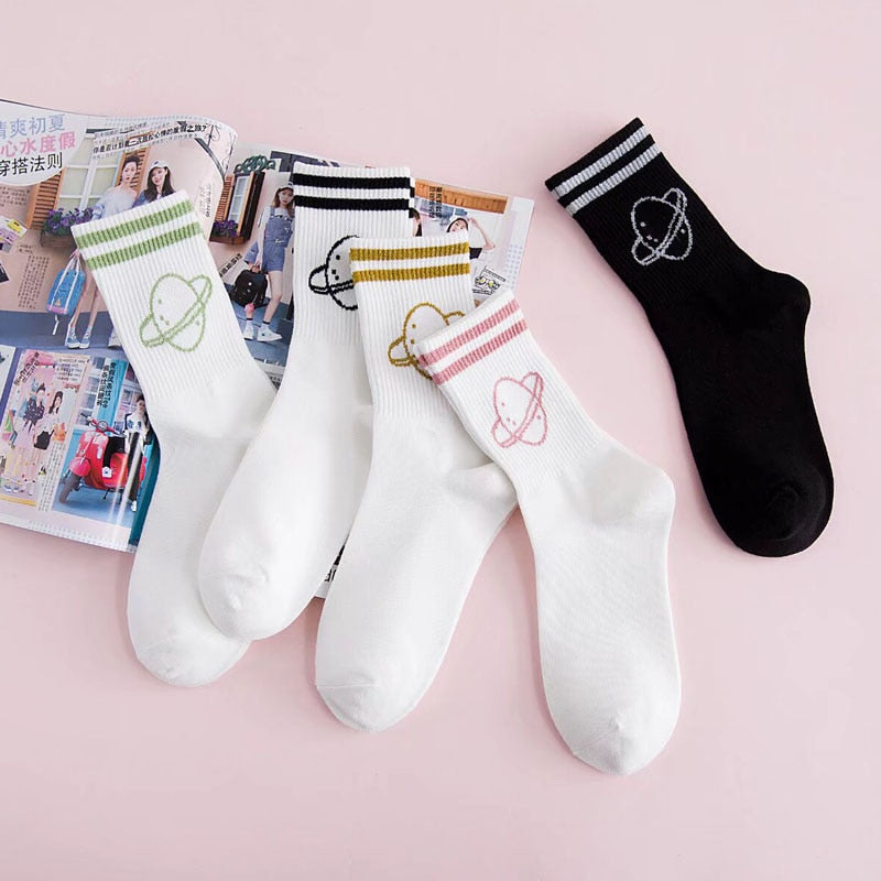 Planet Stripe Socks - Shop Minu (socks) Korean Aesthetic Apparel & Accessories