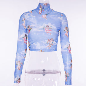 Sky Angels Transparent Mesh Crop Top - Shop Minu (shirt) Korean Aesthetic Apparel & Accessories