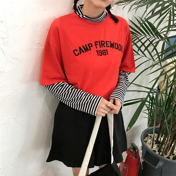 1981 Faux Two Piece T-Shirt - Shop Minu (shirt) Korean Aesthetic Apparel & Accessories