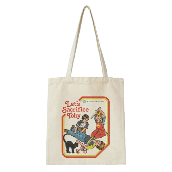 Retro Graphic Print Tote Bag - Shop Minu (bag) Korean Aesthetic Apparel & Accessories
