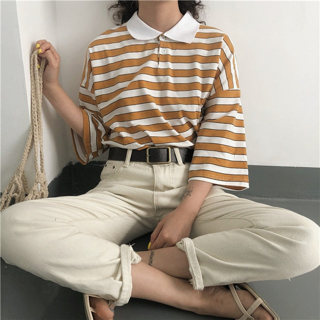 Striped Button Down Tee - Shop Minu (shirt) Korean Aesthetic Apparel & Accessories