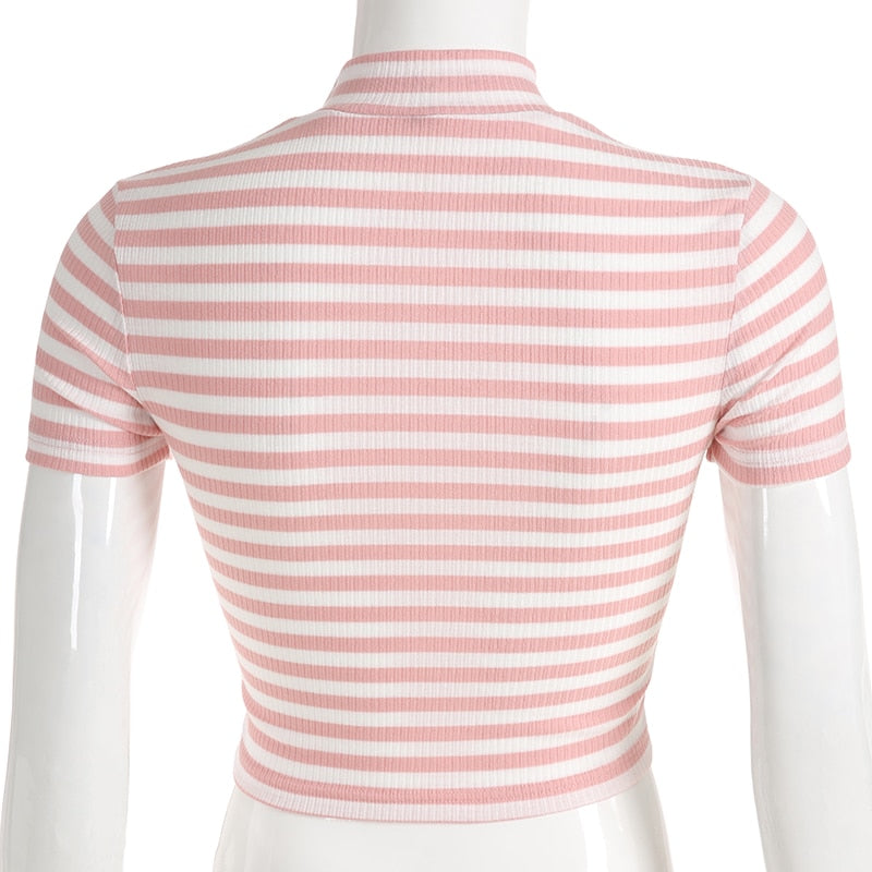 Cute Striped Mock Neck Top - Shop Minu (shirt) Korean Aesthetic Apparel & Accessories