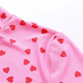 Pink Hearts Cropped Mesh Top - Shop Minu (shirt) Korean Aesthetic Apparel & Accessories