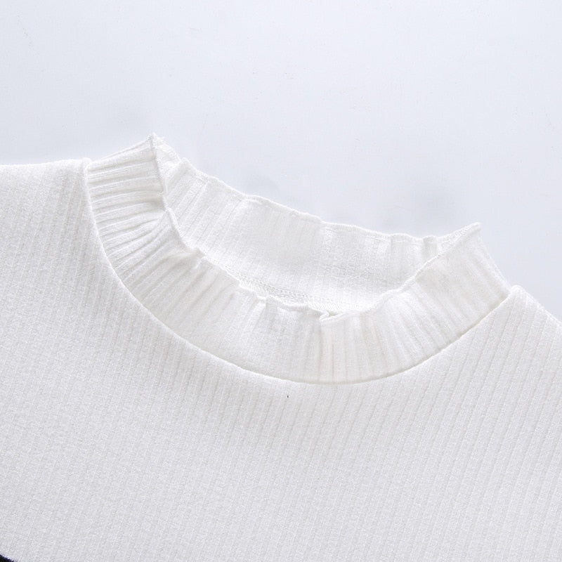 Cute Eyes Embroidery Crop Top - Shop Minu (shirt) Korean Aesthetic Apparel & Accessories