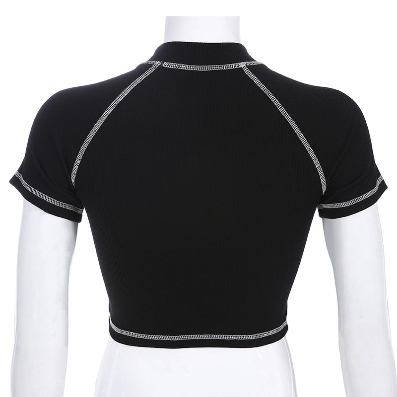 Sure Embroidered Black Crop Top - Shop Minu (shirt) Korean Aesthetic Apparel & Accessories