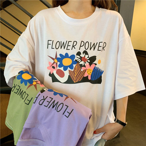 Flower Power Tee - Shop Minu (shirt) Korean Aesthetic Apparel & Accessories